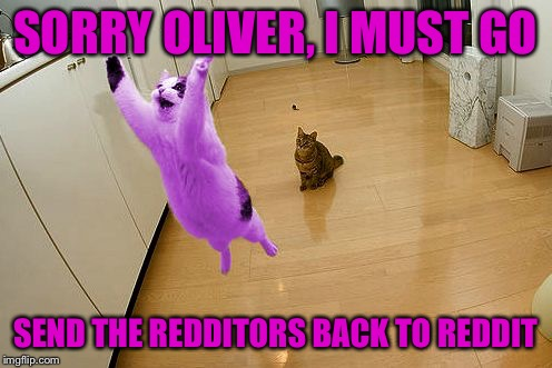 RayCat save the world | SORRY OLIVER, I MUST GO SEND THE REDDITORS BACK TO REDDIT | image tagged in raycat save the world | made w/ Imgflip meme maker