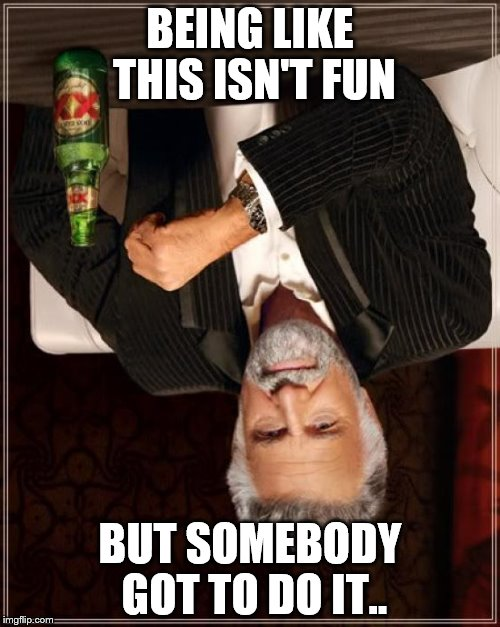 The Most Interesting Man In The World Meme | BEING LIKE THIS ISN'T FUN BUT SOMEBODY GOT TO DO IT.. | image tagged in memes,the most interesting man in the world | made w/ Imgflip meme maker