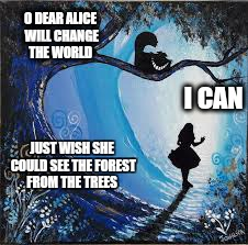 O DEAR ALICE WILL CHANGE THE WORLD JUST WISH SHE COULD SEE THE FOREST FROM THE TREES I CAN | made w/ Imgflip meme maker
