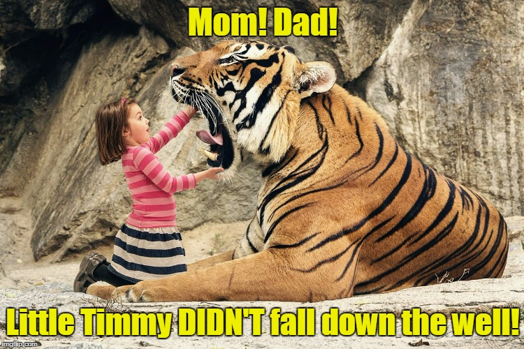 Lassie's gonna sit this one out (Tiger Week - a TigerLegend1046 event) | Mom! Dad! Little Timmy DIDN'T fall down the well! | image tagged in tiger week,memes,tiger,lassie | made w/ Imgflip meme maker