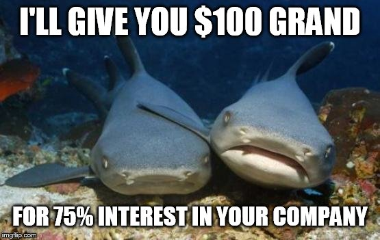But it's a million dollar idea | I'LL GIVE YOU $100 GRAND FOR 75% INTEREST IN YOUR COMPANY | image tagged in empathetic shark | made w/ Imgflip meme maker