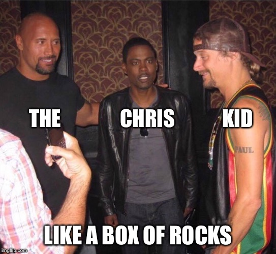 Like a box of Rocks | THE               CHRIS            KID LIKE A BOX OF ROCKS | image tagged in the rock,chris rock,kid rock | made w/ Imgflip meme maker