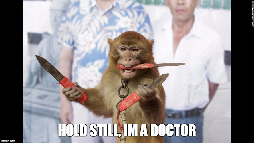 Monkey with Knives | HOLD STILL, IM A DOCTOR | image tagged in monkey with knives | made w/ Imgflip meme maker