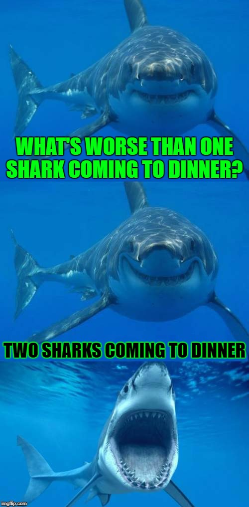 Anyone Interested In Dinner?  Shark Week™ A Raydog and Discovery Channel Event July 23rd - 30th | WHAT'S WORSE THAN ONE SHARK COMING TO DINNER? TWO SHARKS COMING TO DINNER | image tagged in bad shark pun,shark week,shark,raydog,google images,craziness_all_the_way | made w/ Imgflip meme maker