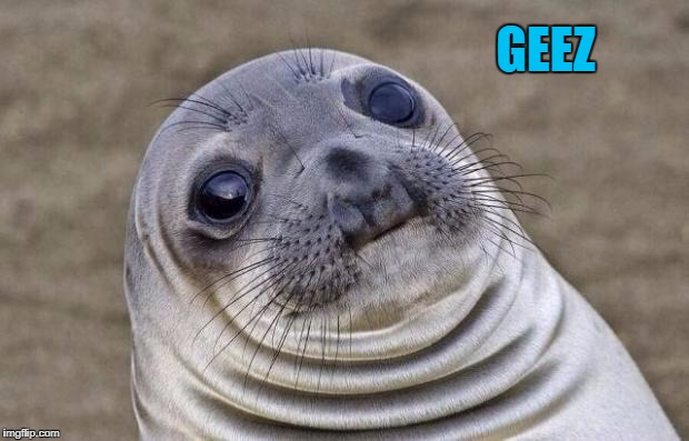 Awkward Moment Sealion Meme | GEEZ | image tagged in memes,awkward moment sealion | made w/ Imgflip meme maker