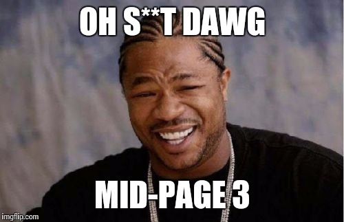 Yo Dawg Heard You Meme | OH S**T DAWG MID-PAGE 3 | image tagged in memes,yo dawg heard you | made w/ Imgflip meme maker