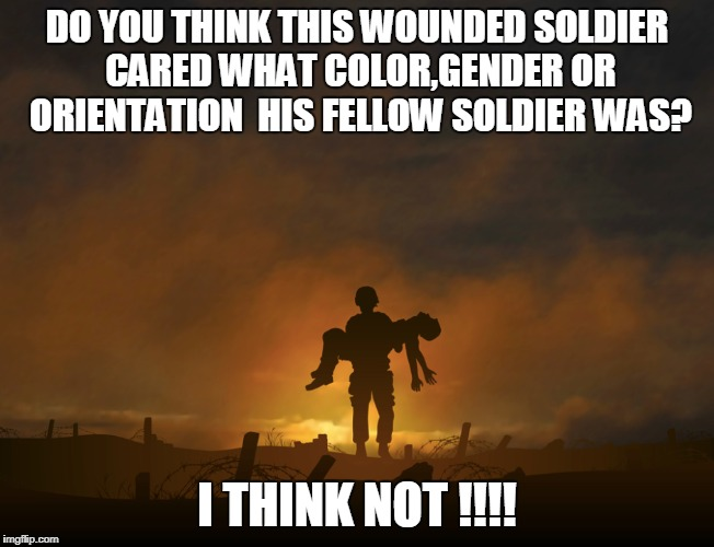 #NoTransBan | DO YOU THINK THIS WOUNDED SOLDIER CARED WHAT COLOR,GENDER OR ORIENTATION  HIS FELLOW SOLDIER WAS? I THINK NOT !!!! | image tagged in gifs,memes | made w/ Imgflip meme maker