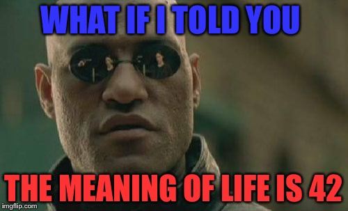 Matrix Morpheus Meme | WHAT IF I TOLD YOU THE MEANING OF LIFE IS 42 | image tagged in memes,matrix morpheus | made w/ Imgflip meme maker
