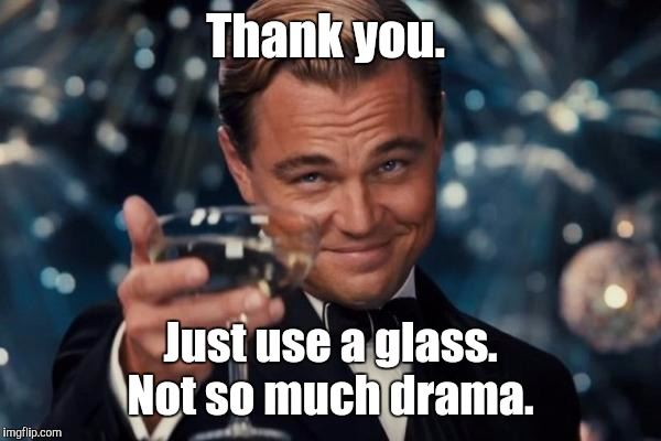 Leonardo Dicaprio Cheers Meme | Thank you. Just use a glass. Not so much drama. | image tagged in memes,leonardo dicaprio cheers | made w/ Imgflip meme maker