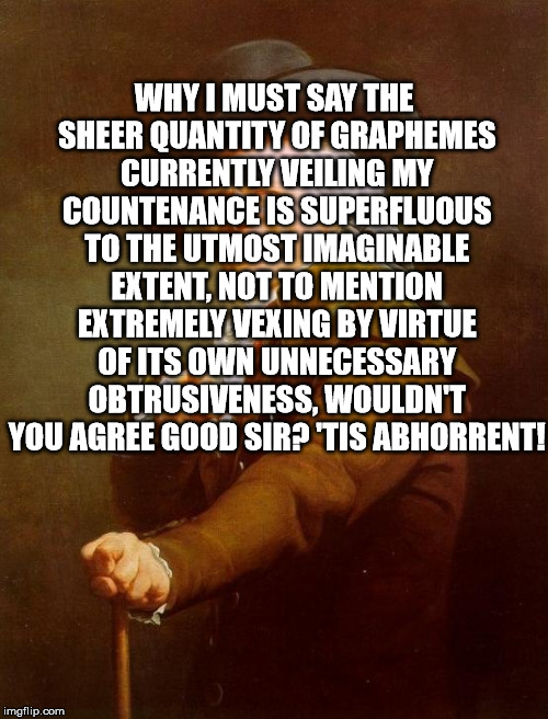 WHY I MUST SAY THE SHEER QUANTITY OF GRAPHEMES CURRENTLY VEILING MY COUNTENANCE IS SUPERFLUOUS TO THE UTMOST IMAGINABLE EXTENT, NOT TO MENTI | made w/ Imgflip meme maker