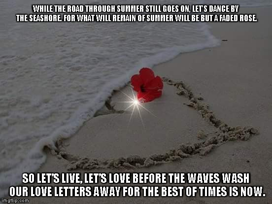 The Best of Times | WHILE THE ROAD THROUGH SUMMER STILL GOES ON, LET'S DANCE BY THE SEASHORE. FOR WHAT WILL REMAIN OF SUMMER WILL BE BUT A FADED ROSE. SO LET'S  | image tagged in summer,roses,love,love letters | made w/ Imgflip meme maker