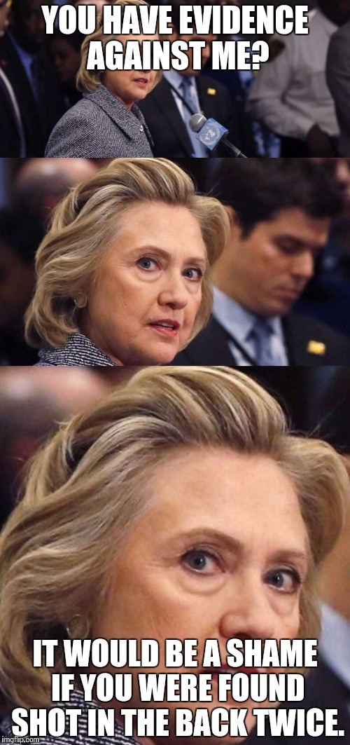 Would Be a Shame if Someone Deleted it Hillary Clinton | YOU HAVE EVIDENCE AGAINST ME? IT WOULD BE A SHAME IF YOU WERE FOUND SHOT IN THE BACK TWICE. | image tagged in would be a shame if someone deleted it hillary clinton | made w/ Imgflip meme maker