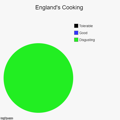 England's cooking | England's Cooking | Disgusting , Good, Tolerable | image tagged in funny,pie charts,england,hetalia,food,scones | made w/ Imgflip pie chart maker