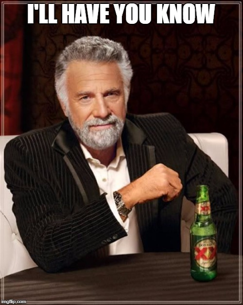The Most Interesting Man In The World Meme | I'LL HAVE YOU KNOW | image tagged in memes,the most interesting man in the world | made w/ Imgflip meme maker