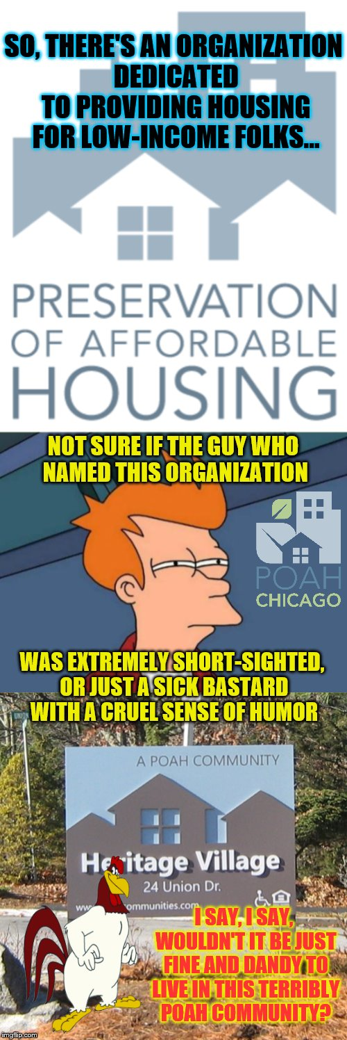 Acrimonious A.C.R.O.N.Y.M.S. | SO, THERE'S AN ORGANIZATION DEDICATED TO PROVIDING HOUSING FOR LOW-INCOME FOLKS... NOT SURE IF THE GUY WHO NAMED THIS ORGANIZATION WAS EXTRE | image tagged in memes,phunny,futurama fry,funny,poah,foghorn leghorn | made w/ Imgflip meme maker