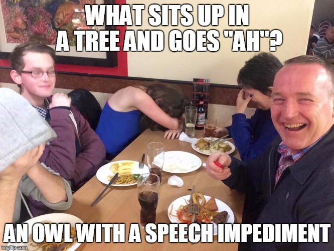 "dad joke | WHAT SITS UP IN A TREE AND GOES ""AH""? AN OWL WITH A SPEECH IMPEDIMENT 