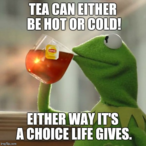 But Thats None Of My Business Meme | TEA CAN EITHER BE HOT OR COLD! EITHER WAY IT'S A CHOICE LIFE GIVES. | image tagged in memes,but thats none of my business,kermit the frog | made w/ Imgflip meme maker