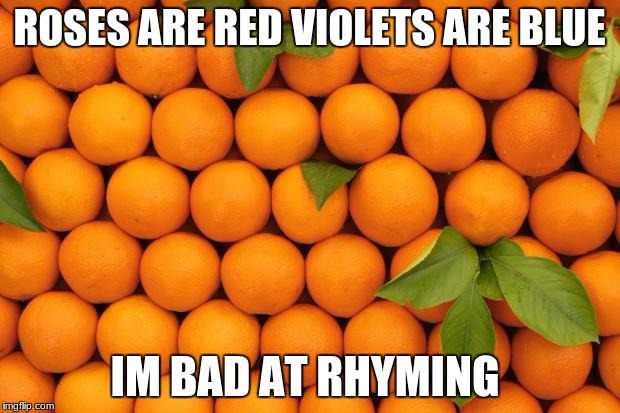 ROSES ARE RED VIOLETS ARE BLUE IM BAD AT RHYMING | image tagged in orange,memes | made w/ Imgflip meme maker