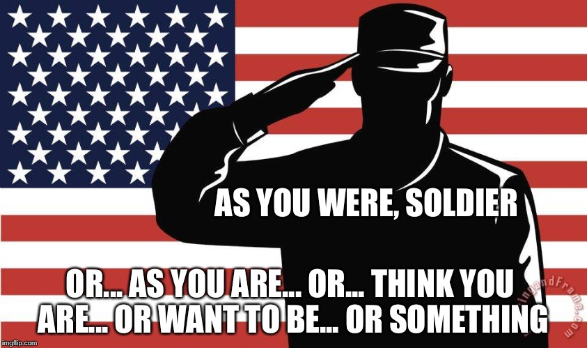 AS YOU WERE, SOLDIER OR... AS YOU ARE... OR... THINK YOU ARE... OR WANT TO BE... OR SOMETHING | image tagged in saluting soldier | made w/ Imgflip meme maker