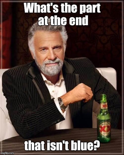 The Most Interesting Man In The World Meme | What's the part at the end that isn't blue? | image tagged in memes,the most interesting man in the world | made w/ Imgflip meme maker