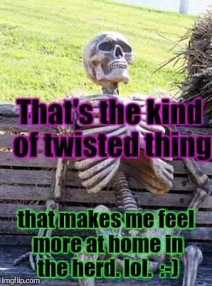 Waiting Skeleton Meme | That's the kind of twisted thing that makes me feel more at home in the herd. lol.  :-) | image tagged in memes,waiting skeleton | made w/ Imgflip meme maker