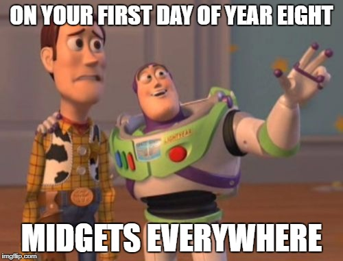 Like...everywhere | ON YOUR FIRST DAY OF YEAR EIGHT MIDGETS EVERYWHERE | image tagged in memes,x x everywhere,school,dank memes,funny,midgets | made w/ Imgflip meme maker