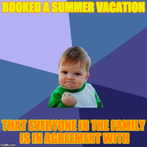 Success Kid Meme | BOOKED A SUMMER VACATION THAT EVERYONE IN THE FAMILY IS IN AGREEMENT WITH | image tagged in memes,success kid | made w/ Imgflip meme maker