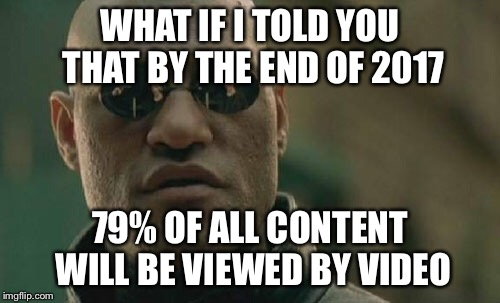 Matrix Morpheus Meme | WHAT IF I TOLD YOU THAT BY THE END OF 2017 79% OF ALL CONTENT WILL BE VIEWED BY VIDEO | image tagged in memes,matrix morpheus | made w/ Imgflip meme maker
