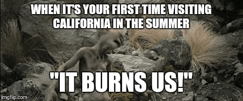 "WHEN IT'S YOUR FIRST TIME VISITING CALIFORNIA IN THE SUMMER ""IT BURNS US!"" 