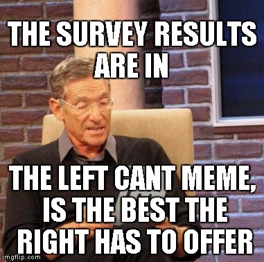 Maury Lie Detector Meme | THE SURVEY RESULTS ARE IN THE LEFT CANT MEME, IS THE BEST THE RIGHT HAS TO OFFER | image tagged in memes,maury lie detector | made w/ Imgflip meme maker