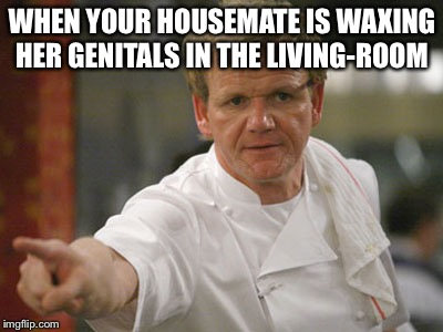 You're getting too comfy, girl! | WHEN YOUR HOUSEMATE IS WAXING HER GENITALS IN THE LIVING-ROOM | image tagged in gordon ramsay get out,genitals,roommates,body waxing | made w/ Imgflip meme maker
