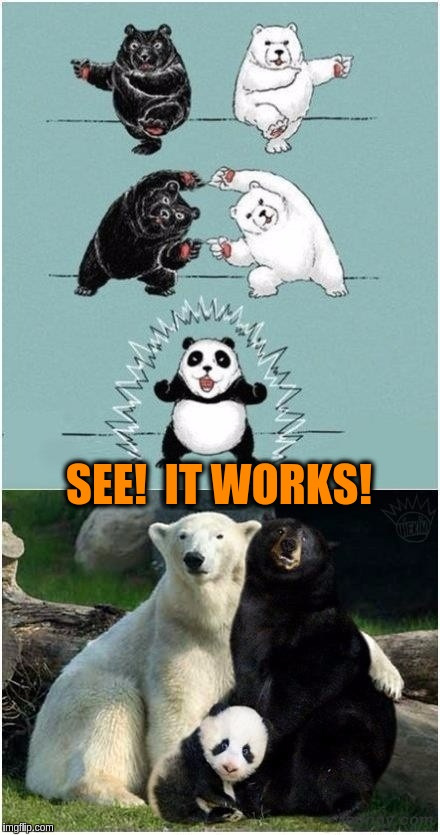 Ultimate Fusion | SEE!  IT WORKS! | image tagged in memes,funny,panda,polar bears,black bears,dragon ball z | made w/ Imgflip meme maker