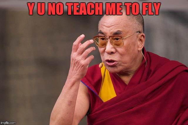 Y U NO TEACH ME TO FLY | made w/ Imgflip meme maker