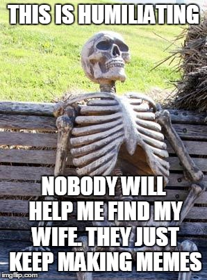 Waiting Skeleton Meme | THIS IS HUMILIATING NOBODY WILL HELP ME FIND MY WIFE. THEY JUST KEEP MAKING MEMES | image tagged in memes,waiting skeleton | made w/ Imgflip meme maker