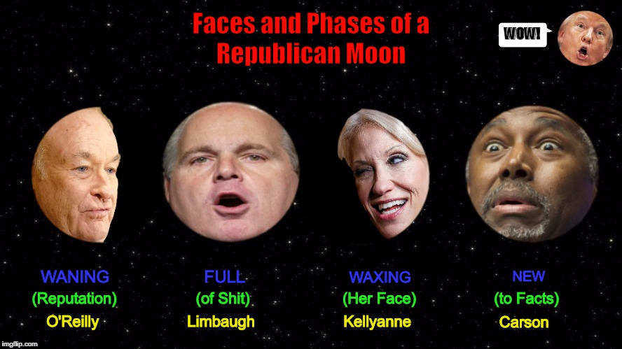 Faces and Phases of a Republican Moon | image tagged in donald trump,moon,kellyanne conway,funny,republican,memes | made w/ Imgflip meme maker