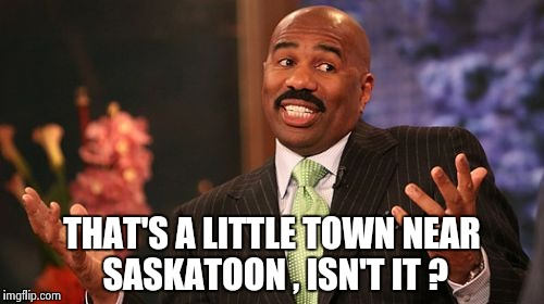 Steve Harvey Meme | THAT'S A LITTLE TOWN NEAR SASKATOON , ISN'T IT ? | image tagged in memes,steve harvey | made w/ Imgflip meme maker