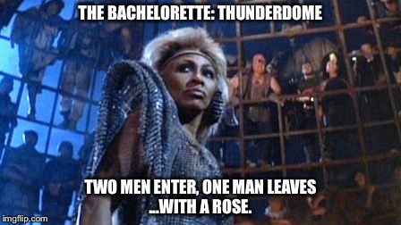 Finally Worth Watching! |  THE BACHELORETTE: THUNDERDOME; ...WITH A ROSE. TWO MEN ENTER, ONE MAN LEAVES | image tagged in tina turner - thunderdome,bachelorette,thunderdome,rose,bachelor | made w/ Imgflip meme maker