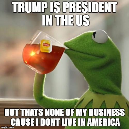 But Thats None Of My Business Meme | TRUMP IS PRESIDENT IN THE US BUT THATS NONE OF MY BUSINESS CAUSE I DONT LIVE IN AMERICA | image tagged in memes,but thats none of my business,kermit the frog | made w/ Imgflip meme maker