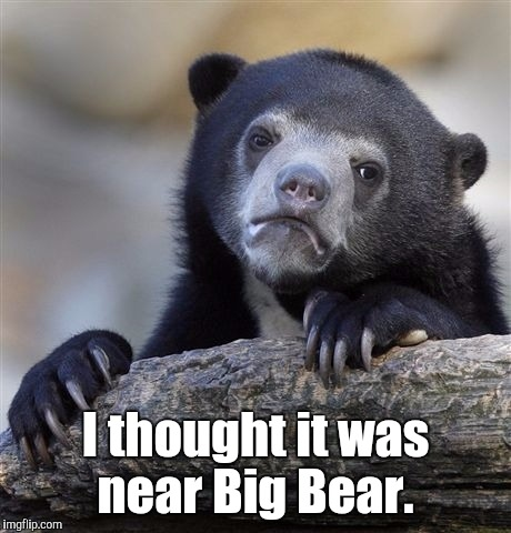 Confession Bear Meme | I thought it was near Big Bear. | image tagged in memes,confession bear | made w/ Imgflip meme maker