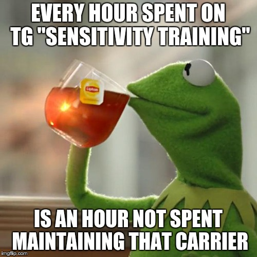 "But Thats None Of My Business Meme | EVERY HOUR SPENT ON TG ""SENSITIVITY TRAINING"" IS AN HOUR NOT SPENT MAINTAINING THAT CARRIER 