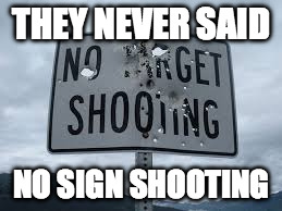 THEY NEVER SAID NO SIGN SHOOTING | image tagged in funny signs,memes | made w/ Imgflip meme maker