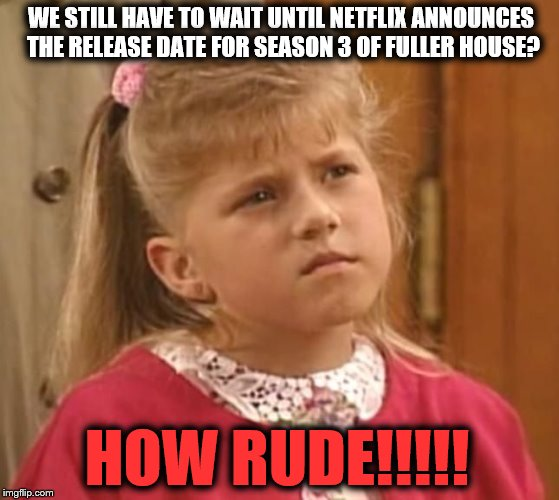 Full House | WE STILL HAVE TO WAIT UNTIL NETFLIX ANNOUNCES THE RELEASE DATE FOR SEASON 3 OF FULLER HOUSE? HOW RUDE!!!!! | image tagged in full house | made w/ Imgflip meme maker
