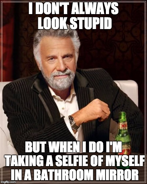 The Most Interesting Man In The World Meme | I DON'T ALWAYS LOOK STUPID BUT WHEN I DO I'M TAKING A SELFIE OF MYSELF IN A BATHROOM MIRROR | image tagged in memes,the most interesting man in the world | made w/ Imgflip meme maker
