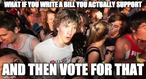 Sudden Clarity Clarence Meme | WHAT IF YOU WRITE A BILL YOU ACTUALLY SUPPORT AND THEN VOTE FOR THAT | image tagged in memes,sudden clarity clarence,AdviceAnimals | made w/ Imgflip meme maker