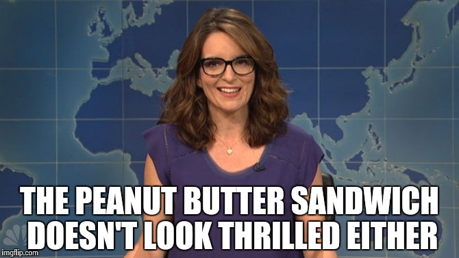 Tina Fey weekend update | THE PEANUT BUTTER SANDWICH DOESN'T LOOK THRILLED EITHER | image tagged in tina fey weekend update | made w/ Imgflip meme maker