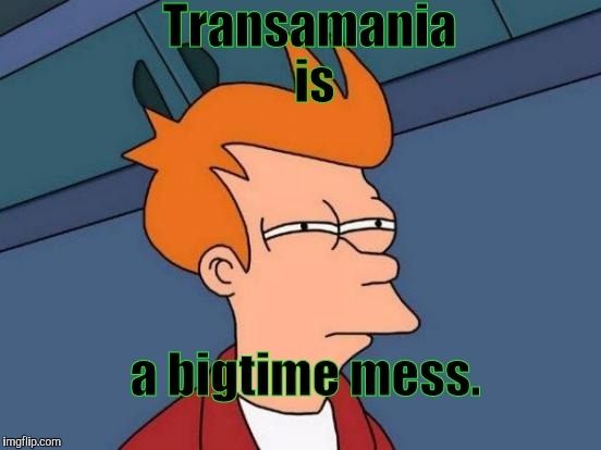 Futurama Fry Meme | Transamania is a bigtime mess. | image tagged in memes,futurama fry | made w/ Imgflip meme maker