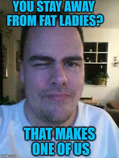 wink | YOU STAY AWAY FROM FAT LADIES? THAT MAKES ONE OF US | image tagged in wink | made w/ Imgflip meme maker