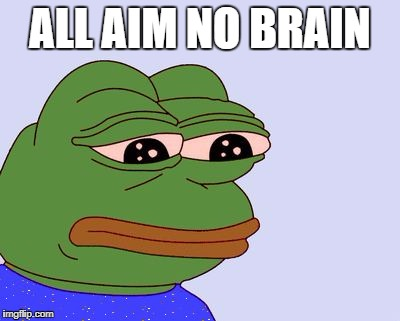 Pepe the Frog | ALL AIM NO BRAIN | image tagged in pepe the frog | made w/ Imgflip meme maker