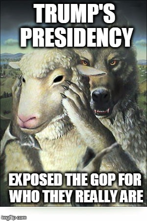 UNDERCOVER GOP WOLVES | TRUMP'S PRESIDENCY EXPOSED THE GOP FOR WHO THEY REALLY ARE | image tagged in rino,fake people,anti trump | made w/ Imgflip meme maker