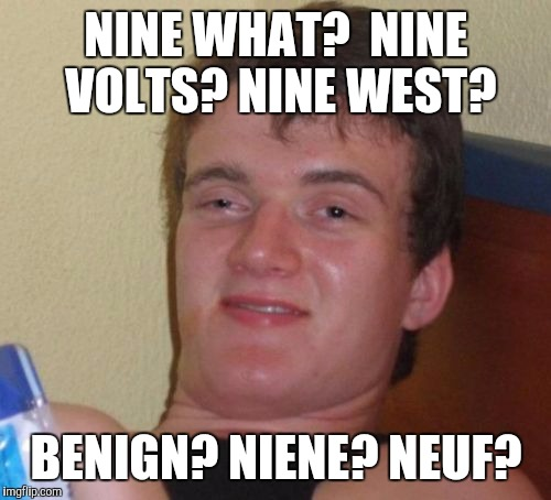 10 Guy Meme | NINE WHAT?  NINE VOLTS? NINE WEST? BENIGN? NIENE? NEUF? | image tagged in memes,10 guy | made w/ Imgflip meme maker
